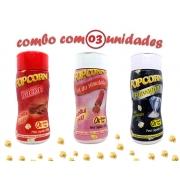 Combo Popcorn - 03 Sabores - Bacon, Sal do Himalaia e Flavapop Manteiga