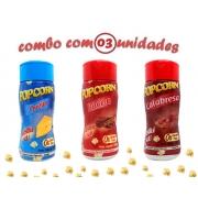 Combo Popcorn - 03 Sabores - Calabresa, Bacon e Queijo