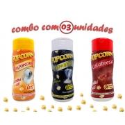 Combo Popcorn - 03 Sabores - Calabresa, Flavapop Manteiga e Sal Popcorn