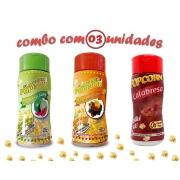 Combo Popcorn - 03 Sabores - Calabresa, Molho Mexicano e Pimenta e Limão