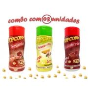 Combo Popcorn - 03 Sabores - Calabresa, Parmesão e Alho e Presunto