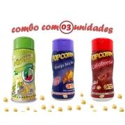 Combo Popcorn - 03 Sabores - Calabresa, Pimenta e Limão e Queijo Nacho