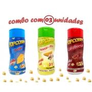 Combo Popcorn - 03 Sabores - Calabresa, Queijo e Parmesão e Alho