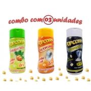 Combo Popcorn - 03 Sabores - Cebola e Salsa, Flavapop Manteiga e Sal Popcorn
