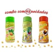 Combo Popcorn - 03 Sabores - Cebola e Salsa, Molho Mexicano e Pimenta e Limão