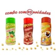 Combo Popcorn - 03 Sabores - Cebola e Salsa, Presunto e Molho Mexicano