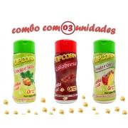 Combo Popcorn - 03 Sabores - Cebola e Salsa, Tomate e Queijo e Calabresa