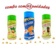 Combo Popcorn - 03 Sabores - Cheddar, Cebola e Salsa e Ervas Finas