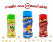 Combo Popcorn - 03 Sabores - Cheddar, Churrasco e Cebola e Salsa