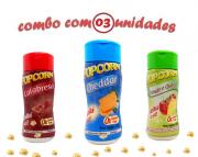 Combo Popcorn - 03 Sabores - Cheddar, Tomate e Queijo e Calabresa