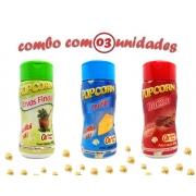 Combo Popcorn - 03 Sabores - Ervas Finas, Bacon e Queijo
