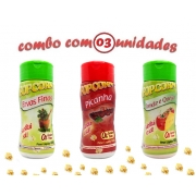 Combo Popcorn - 03 Sabores - Ervas Finas, Picanha e Tomate e Queijo