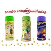 Combo Popcorn - 03 Sabores - Ervas Finas, Pimenta e Limão e Queijo Nacho