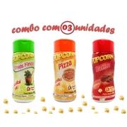 Combo Popcorn - 03 Sabores - Ervas Finas, Pizza e Bacon