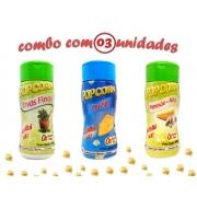 Combo Popcorn - 03 Sabores - Ervas Finas, Queijo e Parmesão e Alho
