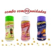 Combo Popcorn - 03 Sabores - Ervas Finas, Queijo Nacho e Sal do Himalaia
