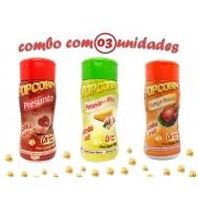 Combo Popcorn - 03 Sabores - Frango Assado, Parmesão e Alho e Presunto