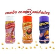 Combo Popcorn - 03 Sabores - Frango Assado, Queijo Nacho e Sal do Himalaia