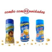 Combo Popcorn - 03 Sabores - Manteiga, 4 Queijos e Parmesão