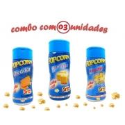 Combo Popcorn 3 Sabores: Manteiga, Cheddar e 4 Queijos
