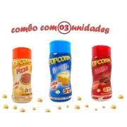 Combo Popcorn - 03 Sabores - Manteiga, Pizza e Bacon