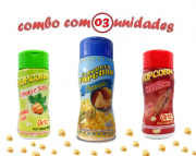 Combo Popcorn - 03 Sabores - Parmesão, Churrasco e Cebola e Salsa