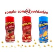 Combo Popcorn - 03 Sabores - Picanha, Bacon e Queijo