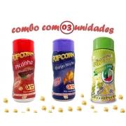 Combo Popcorn - 03 Sabores - Picanha, Pimenta e Limão e Queijo Nacho