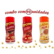 Combo Popcorn - 03 Sabores - Picanha, Pizza e Bacon
