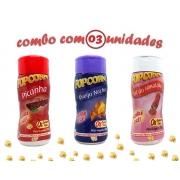 Combo Popcorn - 03 Sabores - Picanha, Queijo Nacho e Sal do Himalaia