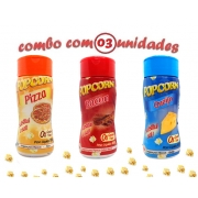 Combo Popcorn - 03 Sabores - Pizza, Bacon e Queijo