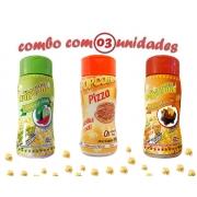 Combo Popcorn - 03 Sabores - Pizza, Molho Mexicano e Pimenta e Limão