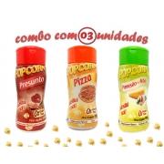 Combo Popcorn - 03 Sabores - Pizza, Parmesão e Alho e Presunto