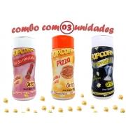 Combo Popcorn - 03 Sabores - Pizza, Sal do Himalaia e Flavapop Manteiga