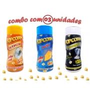 Combo Popcorn - 03 Sabores - Queijo, Flavapop Manteiga e Sal Popcorn