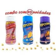 Combo Popcorn - 03 Sabores - Queijo, Queijo Nacho e Sal do Himalaia