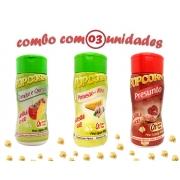 Combo Popcorn - 03 Sabores - Tomate e Queijo, Parmesão e Alho e Presunto
