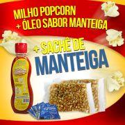 Popcorn Premium 200g milho + Óleo sabor Manteiga + 05 sachê de Manteiga