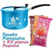Panela Pipoqueira Antiaderente com Haste de Nylon + Kit Popcorn Pipoca Salgada ou Doce
