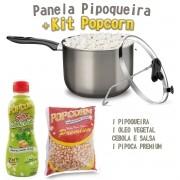Panela Pipoqueira Antiaderente com Tampa de Vidro + Kit Popcorn e Óleo vegetal Cebola e Salsa