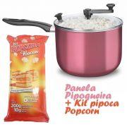 Panela Pipoqueira com Tampa de Vidro + Kit pipoca Salgada sabor Bacon