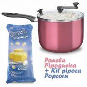 Pipoqueira Panela com Tampa de Vidro + Kit pipoca Popcorn sabor Manteiga