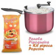 Panela Pipoqueira com Tampa de Vidro + Kit pipopca Popcorn sabor Pizza