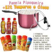 Pipoqueira + Óleos vegetais em 03 sabores + Temperos popcorn em 06 sabores + Milho Premium.