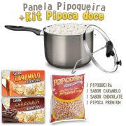 Pipoqueira + Sabor Doce Caramelo 1kg e Chocolate 1kg + Milho Premium.