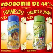 TEMPEROS P/ PIPOCA - Cx 24 FRASCOS - 12 PARMESÃO - 12 PIMENTA E LIMÃO - Preço Un. R$ 6,69