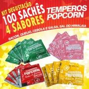 Temperos Popcorn 100 sachês. 25 Bacon, 25 Queijo, 25 Cebola e Salsa e 25 Sal do Himalaia