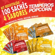Temperos Popcorn 100 sachês. 25 Churrasco, 25 Pizza, 25 Bacon e 25  Queijo