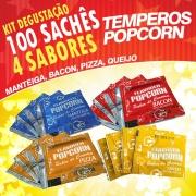 Temperos Popcorn 100 sachês. 25 Manteiga, 25 Pizza, 25 Bacon e 25  Queijo