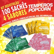 Temperos Popcorn 100 sachês. 25 Manteiga, 25 Queijo, 25 Cebola e Salsa e 25 Sal do Himalaia